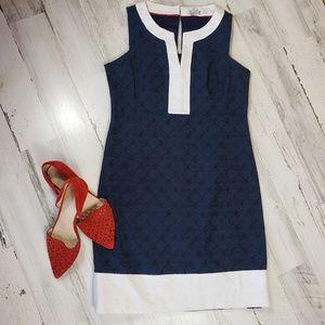 Vineyard Vines textured sleeveless Navy dress 4 SM